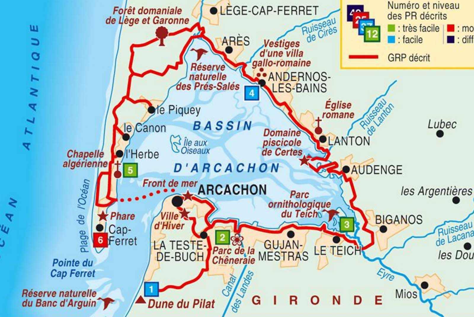 carte dune du pilat Arcachon Bay & The Great Dune of Pilat – Cabadentra Bed and